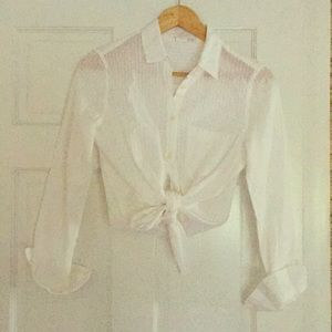 Brand New Gap White Button Down Crop Top Blouse